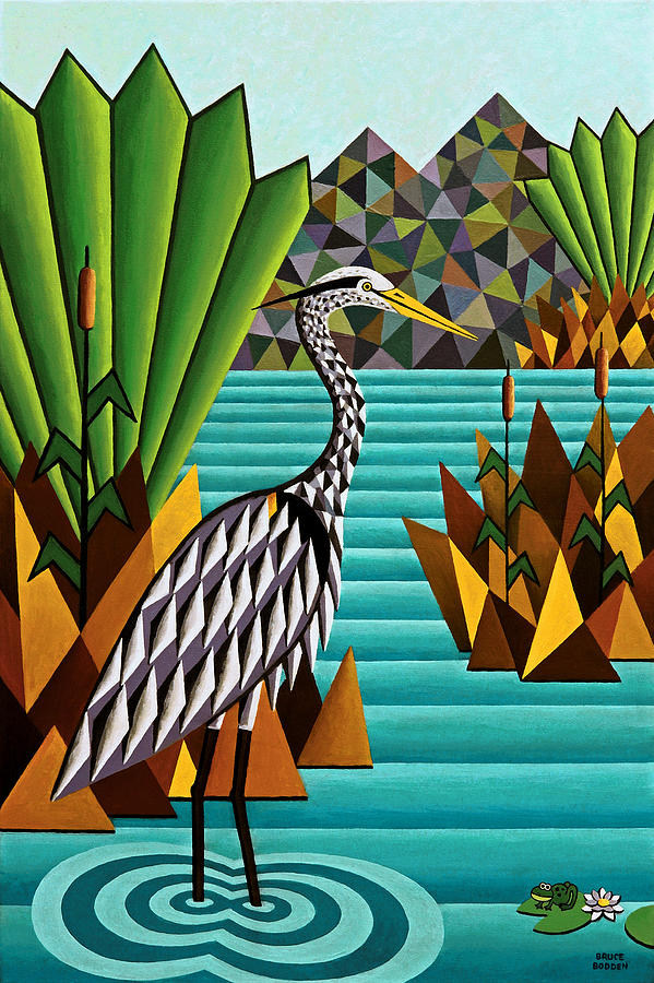 Animals Painting - Great Blue Heron by Bruce Bodden