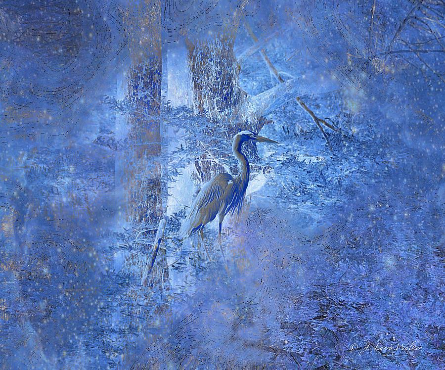 Great Blue Heron In Cosmic Meditation by J Larry Walker