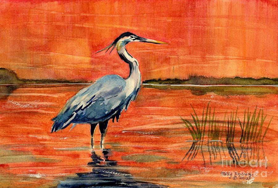 Great Blue Heron Painting - Great Blue Heron In Marsh by Melly Terpening