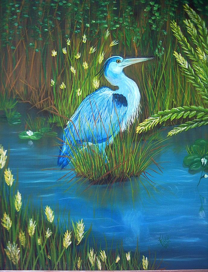 Birds Painting - Great Blue Heron by Kathern Welsh