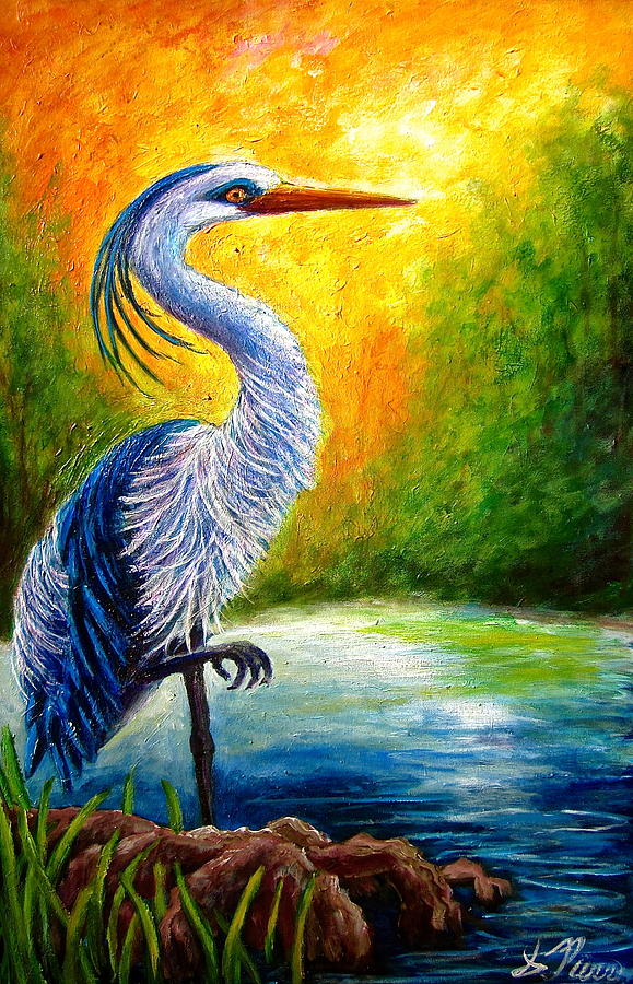 Nature Painting - Great Blue Heron by Sebastian Pierre