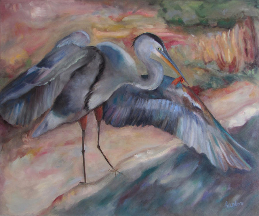 Great Blue Heron Painting - Great Blue Heron by Susan Hanlon