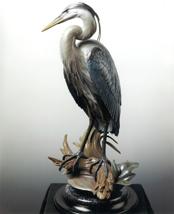 Vantage Point Sculpture - Great Blue Heron - Vantage Point by Mike Curtis