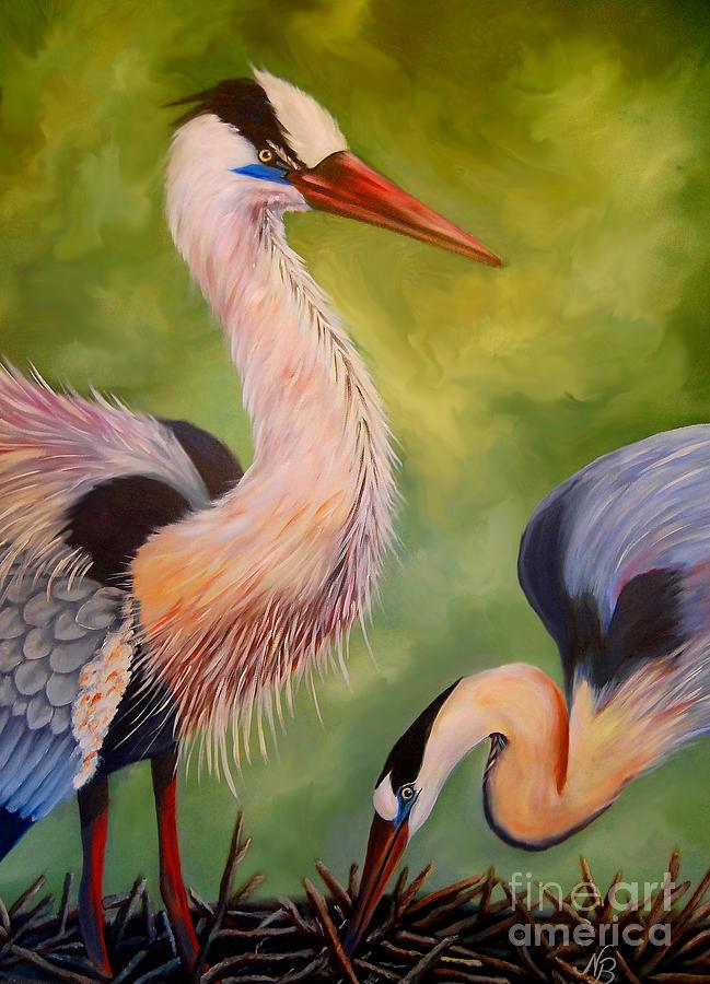 Great Blue Herons by Nancy Bradley