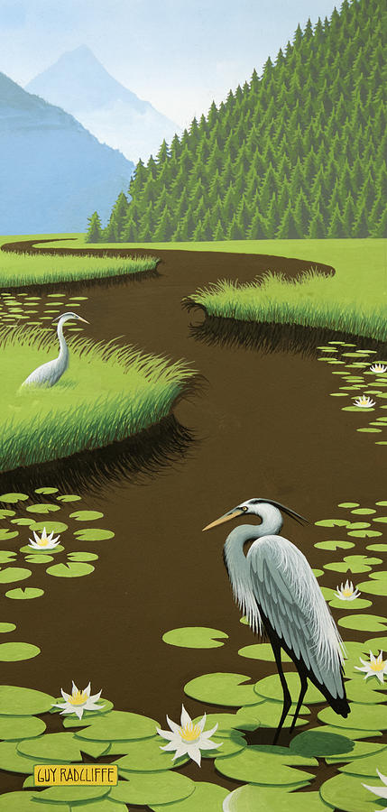 Great Blue Heron Painting - Great Blue Herons On A Lily Pad Pond by Guy Radcliffe