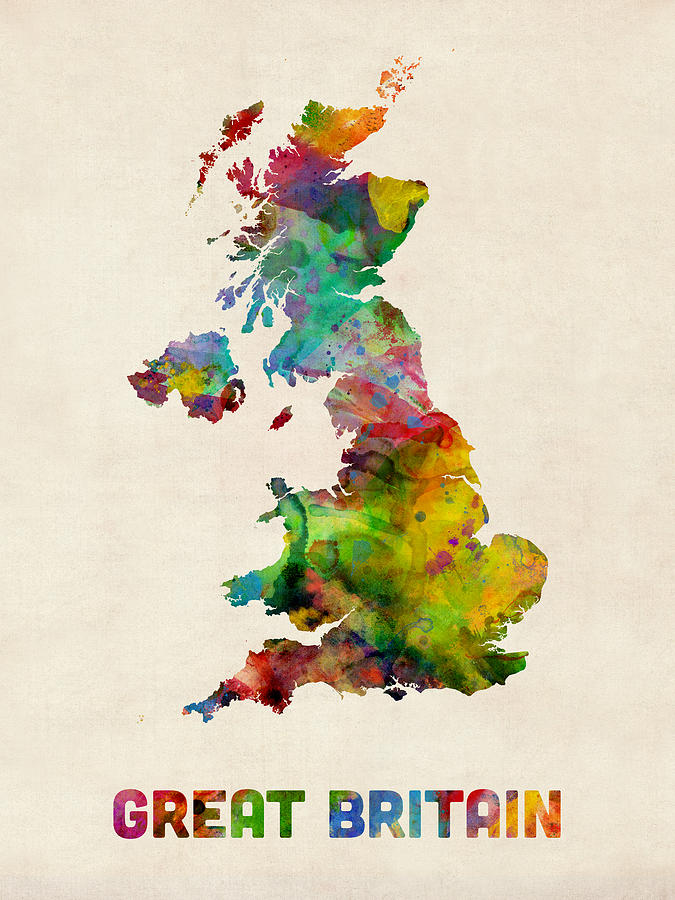 Map Art Digital Art - Great Britain Watercolor Map by Michael Tompsett