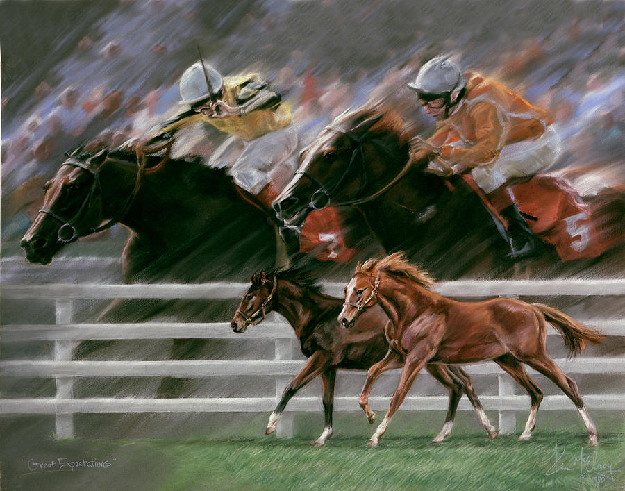 Racehorses Pastel - Great Expectations by Kim McElroy