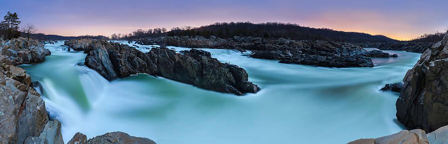 Panoramas Photograph - Great Falls by Full Moon by Andrew Fritz