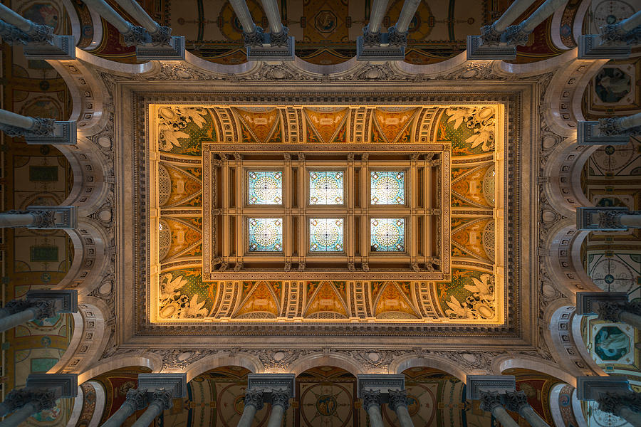 Loc Photograph - Great Hall Ceiling Library Of Congress by Steve Gadomski