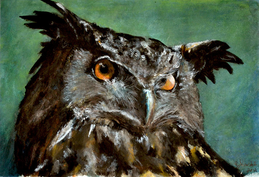 Owl Painting - Great Horned Owl by Carlo Ghirardelli