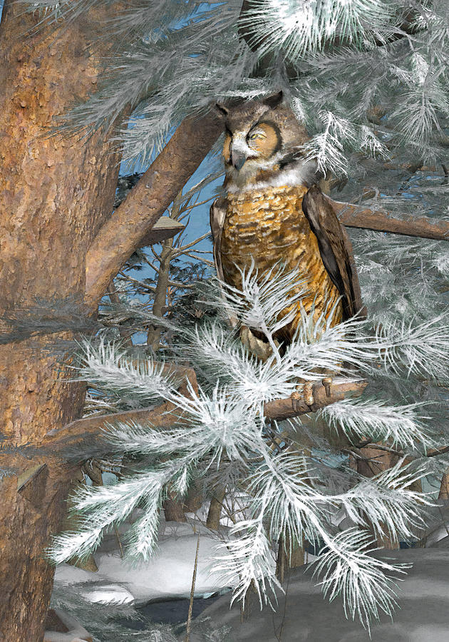 Owl Painting - Great Horned Owl by Peter J Sucy
