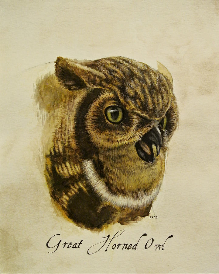 Owl Painting - Great Horned Owl by Rachel Root