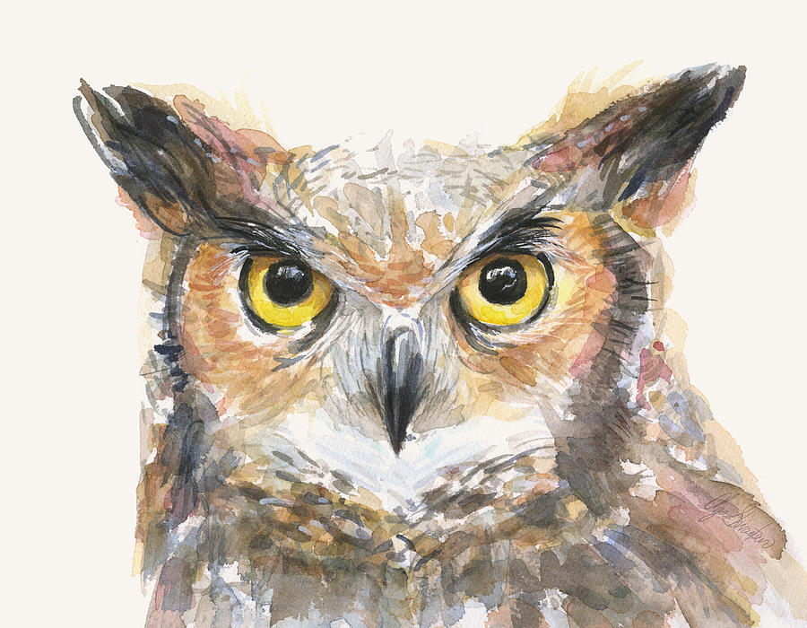 Great Horned Owl Watercolor Painting by Olga Shvartsur