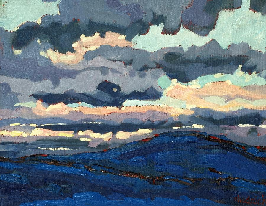 Sunset Painting - Great Horned Sunset by Phil Chadwick