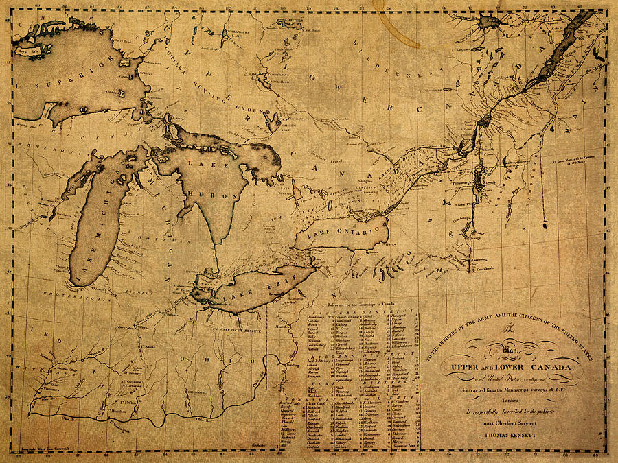 Great Lakes Mixed Media - Great Lakes and Canada Vintage Map on Worn Canvas Circa 1812 by Design Turnpike