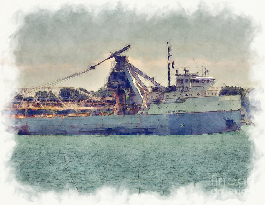 Great Lakes Digital Art - Great Lakes Freighter by Phil Perkins