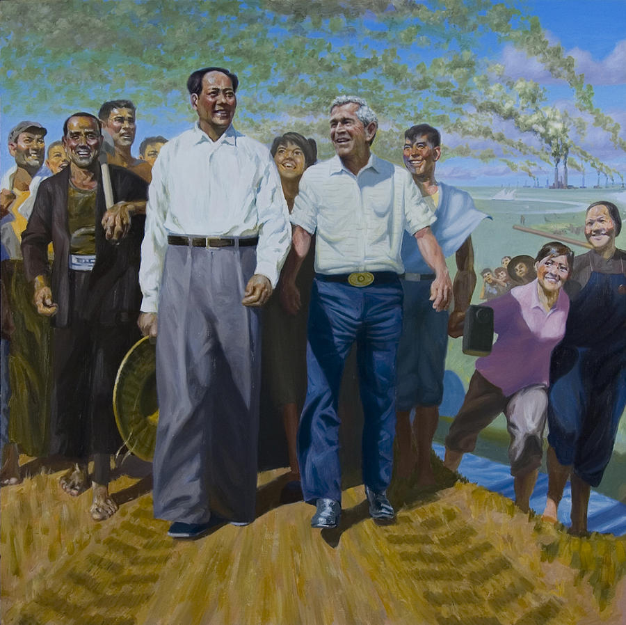 Bush Painting - Great Leaders Accomplishing Mission of Mutual Enrichment by Johnny Everyman