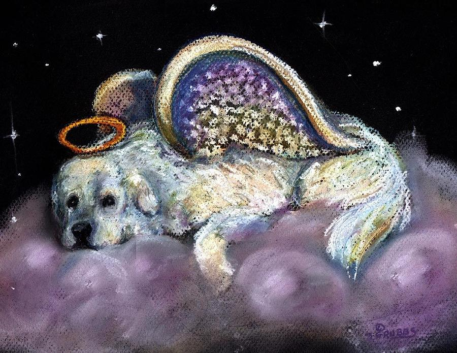 Great Pyrenees Pastel - Great Pyrenees Laying Angel by Darlene Grubbs