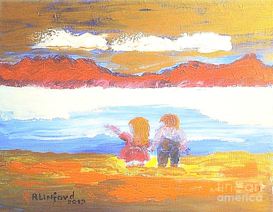 Great Salt Lake Painting - Great Salt Lake Utah And Children by Richard W Linford
