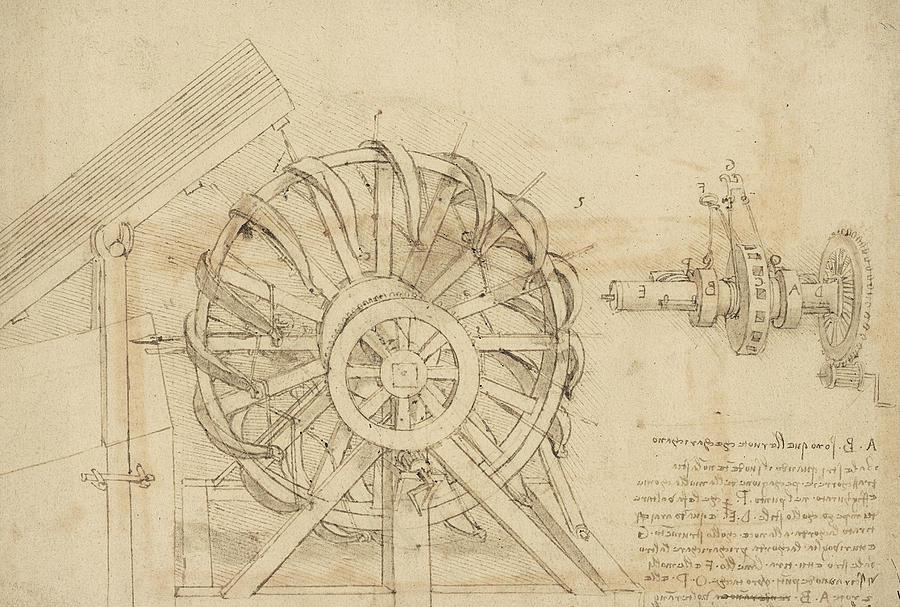 Leonardo Drawing - Great Sling Rotating On Horizontal Plane Great Wheel And Crossbows Devices From Atlantic Codex by Leonardo Da Vinci