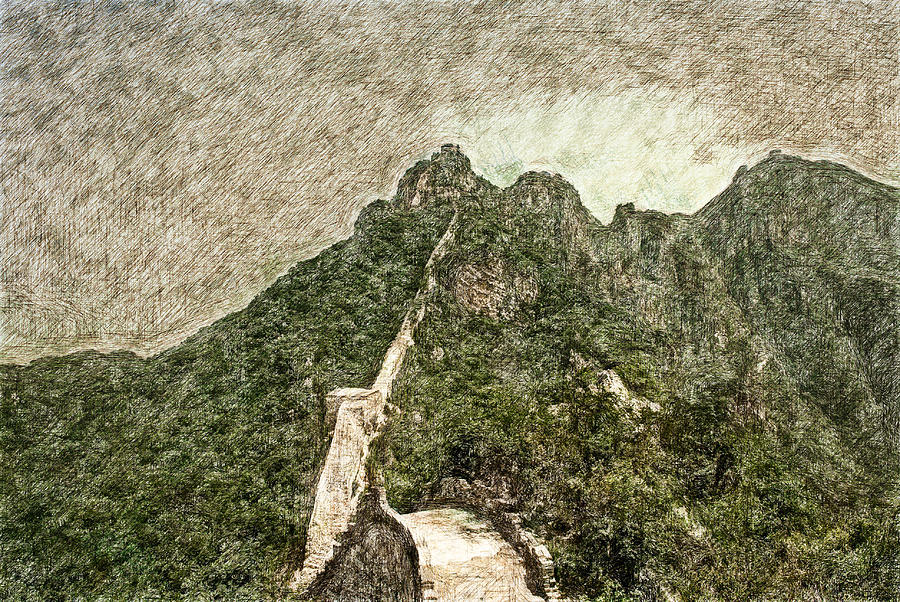 Asia Digital Art - Great Wall 0033 - Colored Photo 2 Sl by David Lange