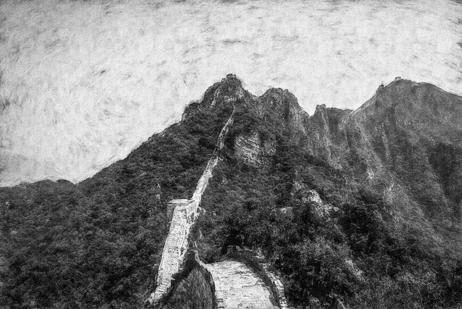 Asia Digital Art - Great Wall 0033 - Graphite Drawing Sl by David Lange