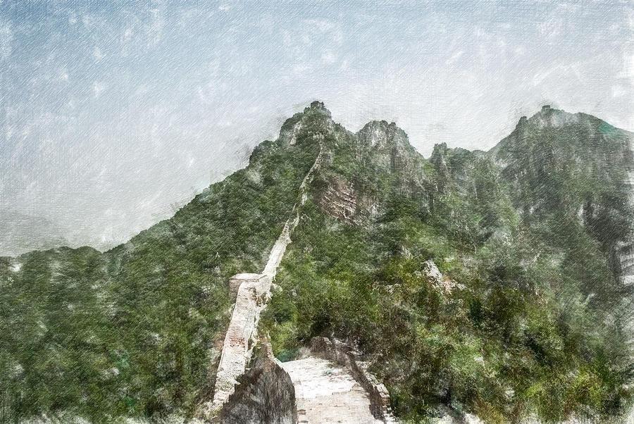 Asia Digital Art - Great Wall 0033 - Light Colored Pencils Sl by David Lange