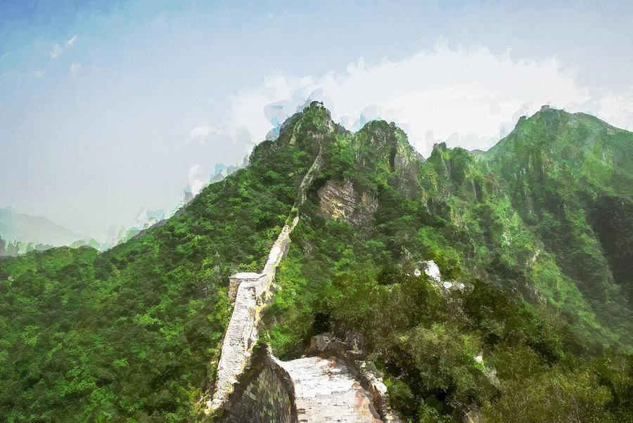 Asia Digital Art - Great Wall 0033 - Oil Stain Sl by David Lange