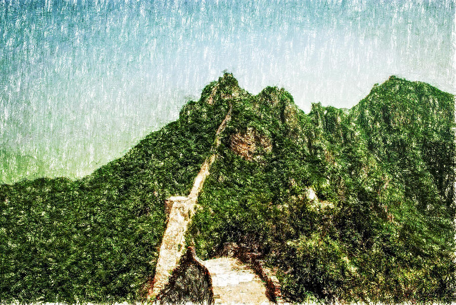 Asia Digital Art - Great Wall 0033 - Pastel Pencil 1 Sl by David Lange