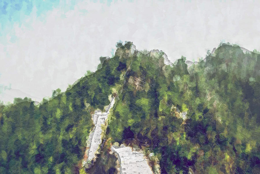 Asia Digital Art - Great Wall 0033 - Plein Air 2 Sl by David Lange