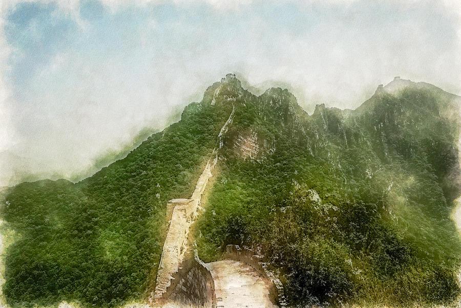 Asia Digital Art - Great Wall 0033 - Traveling Pigments Sl by David Lange
