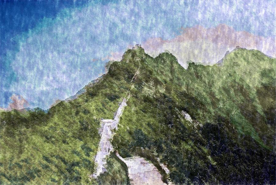Asia Digital Art - Great Wall 0033 - Watercolor 2 Sl by David Lange