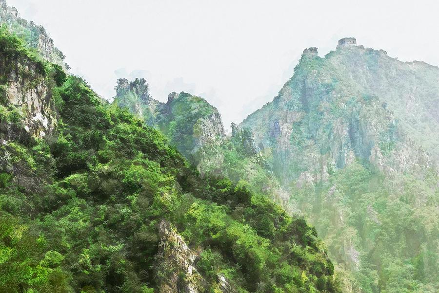Asia Digital Art - Great Wall 0043 - Oil Stain Sl by David Lange