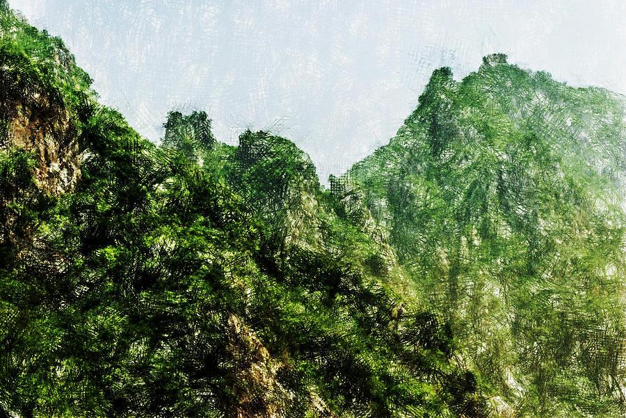 Asia Digital Art - Great Wall 0043 - Pastel Pencils Hp by David Lange