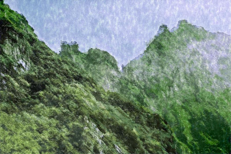 Asia Digital Art - Great Wall 0043 -  Watercolor 2 Sl by David Lange