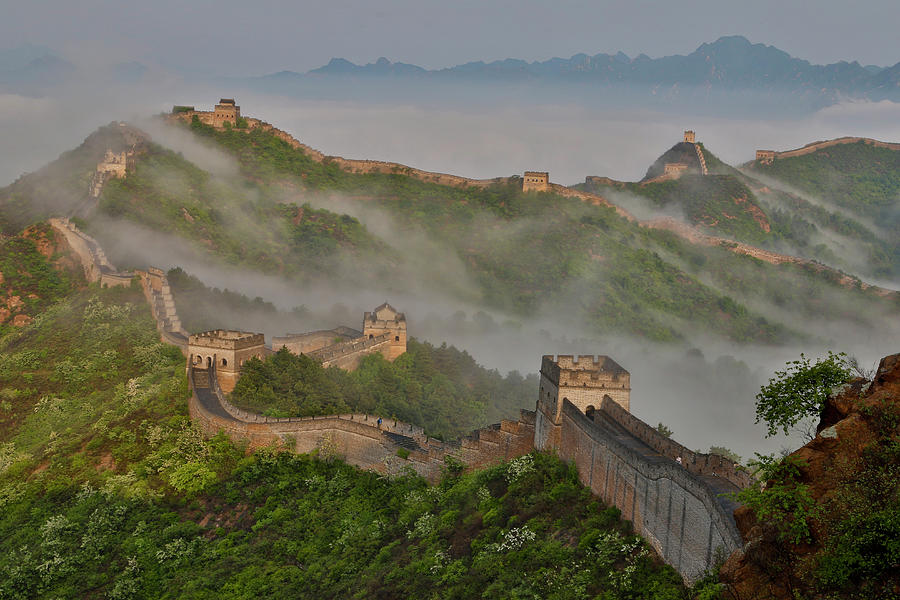 Ancient Photograph - Great Wall Of China On A Foggy Morning by Darrell Gulin