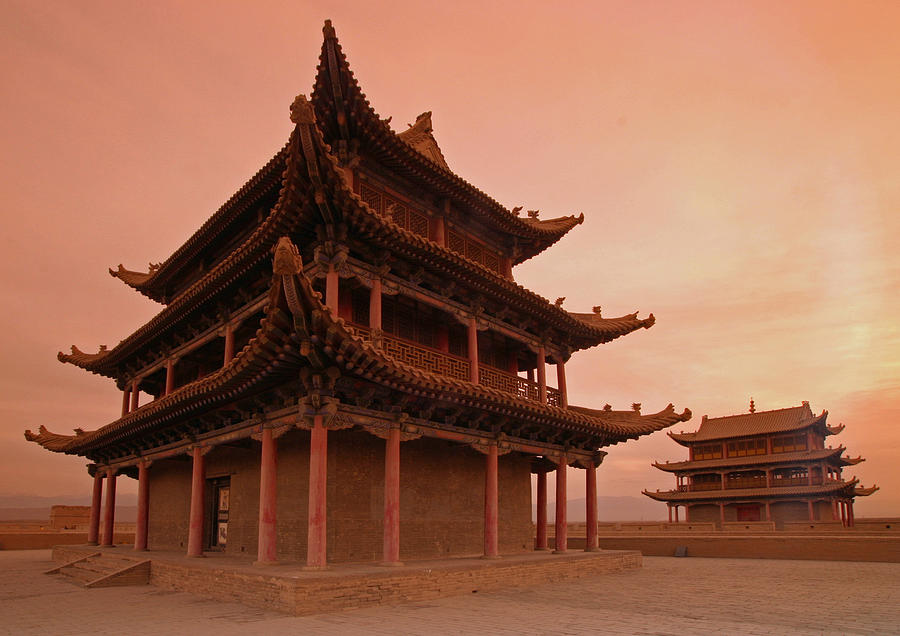 Great Wall Of China Photograph - Great Wall Pagoda At Sunset by Gordon  Grimwade