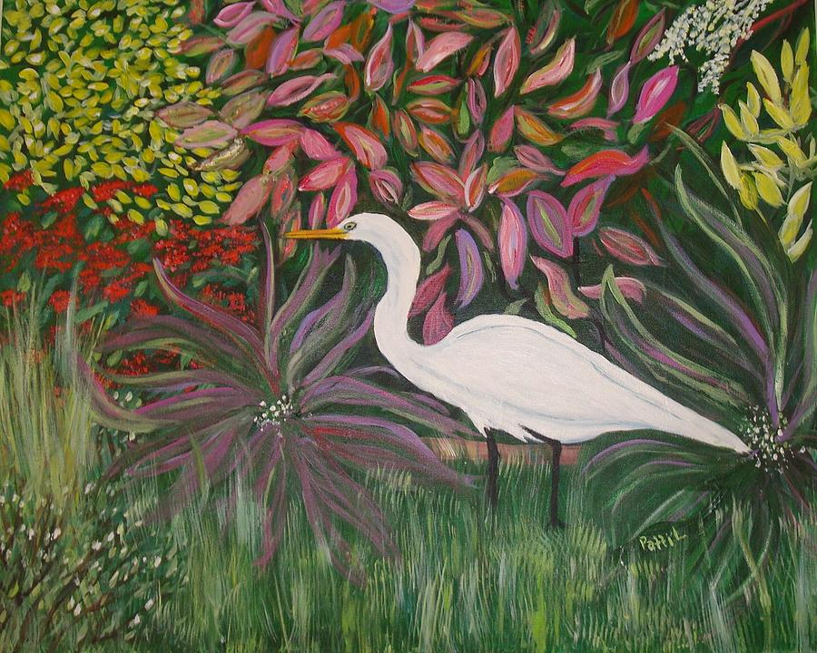 Tropical Florida Painting - Great White Egret by Patti Lauer