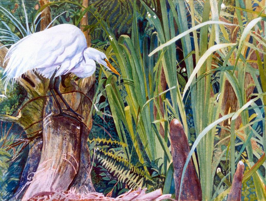 White Heron Painting - Great White Heron Sanctuary by Susan Duda