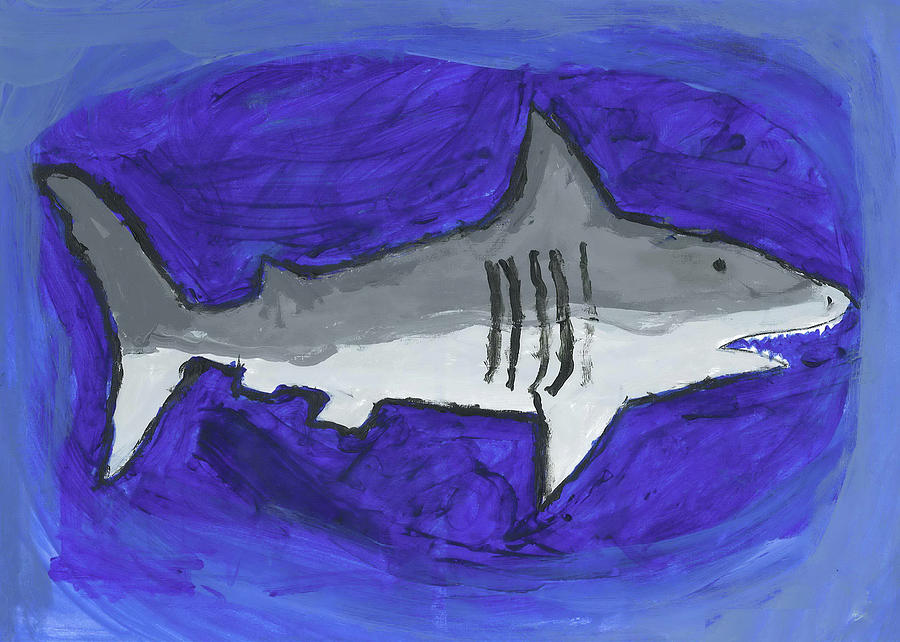 Great White In The Deep Blue Sea Painting by Fred Hanna