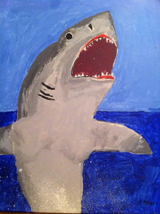 Great White Painting - Great White Shark Breaching by Fred Hanna