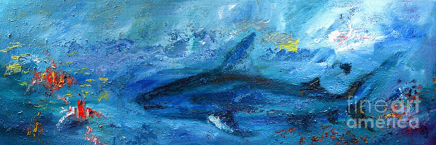 Sharks Painting - Great White Shark Coral Reef Ocean Life by Ginette Callaway