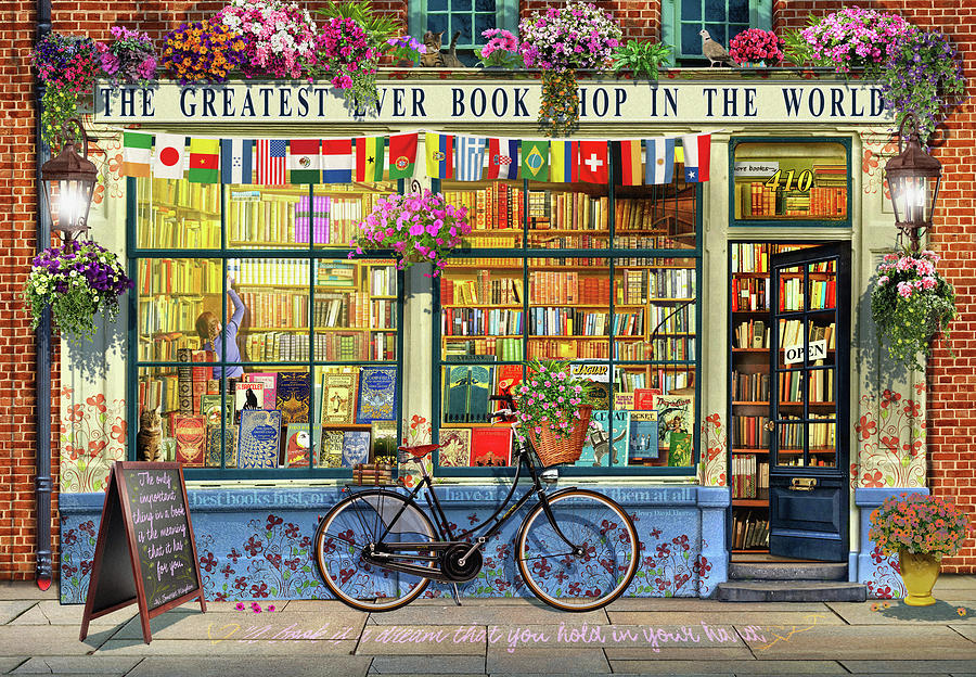 Bookshop Painting - Greatest Bookshop In The World by MGL Meiklejohn Graphics Licensing