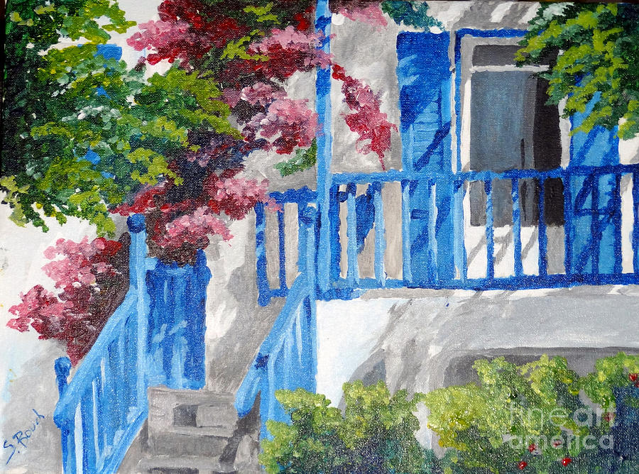 Landscape Painting - Greec House by Soumya Bouchachi