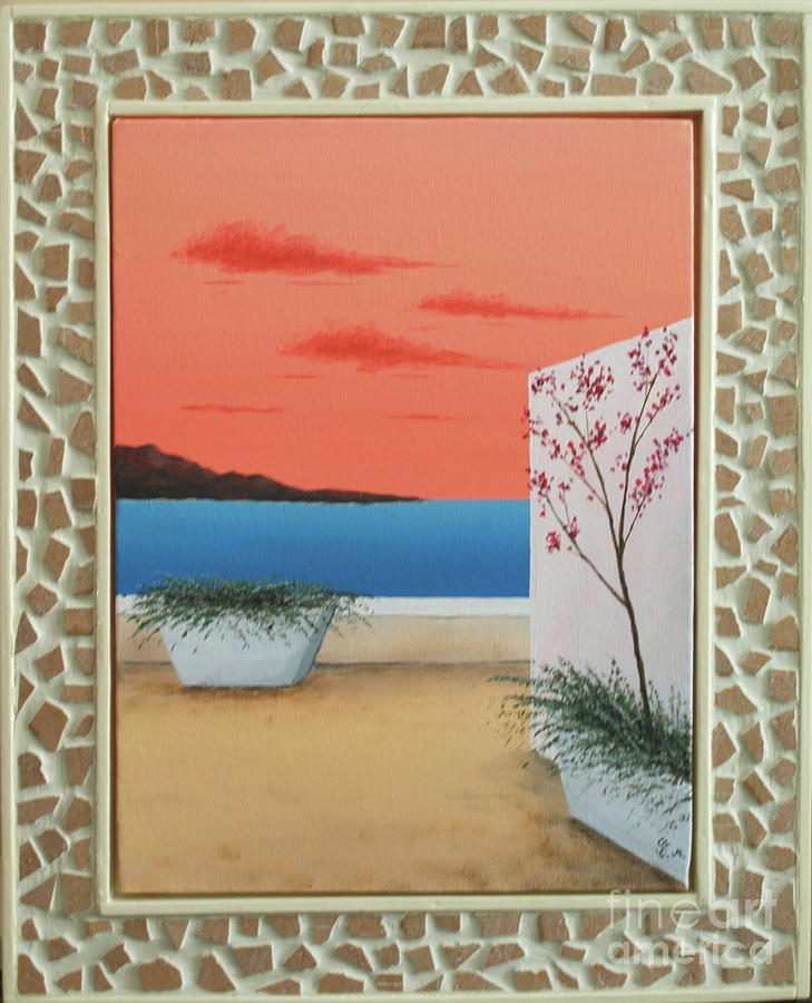 Paintings Mixed Media - Greece At Sunset With Mosaic Frame by Thomas Maes