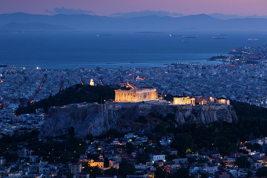 Greece, Athens, Lycabettus Hill Photograph by Walter Bibikow