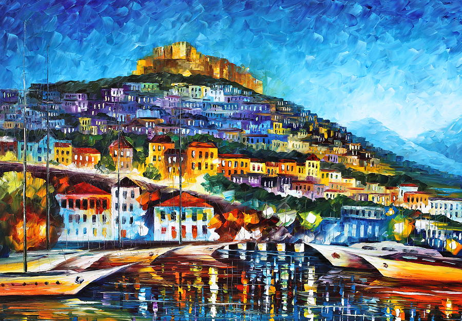 Town Painting - Greece Lesbos Island 2 by Leonid Afremov