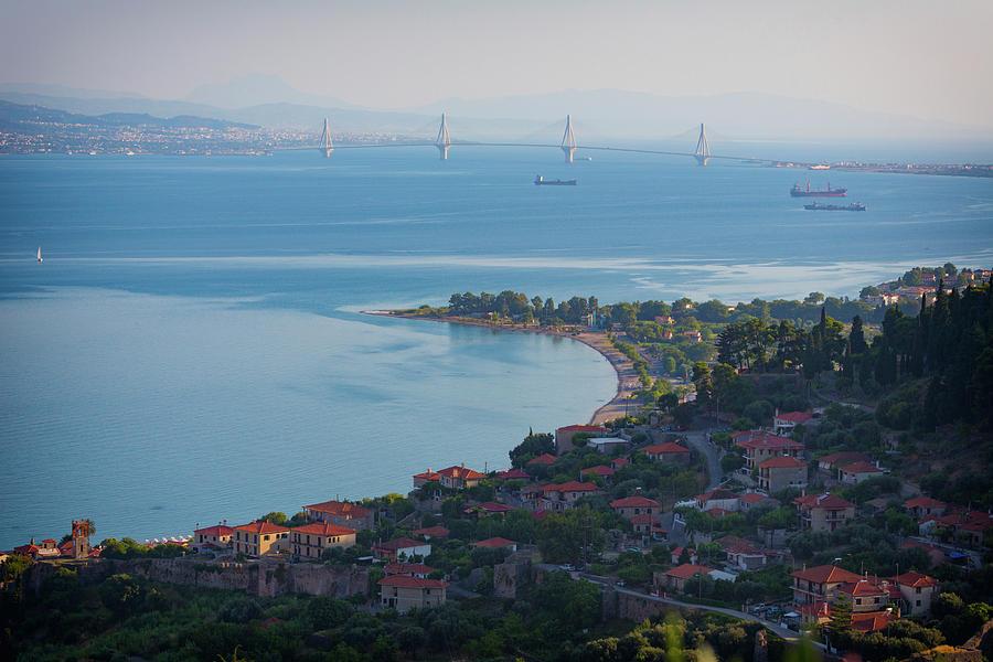 Horizontal Photograph - Greece. The Rioantirrio Bridge by Panoramic Images