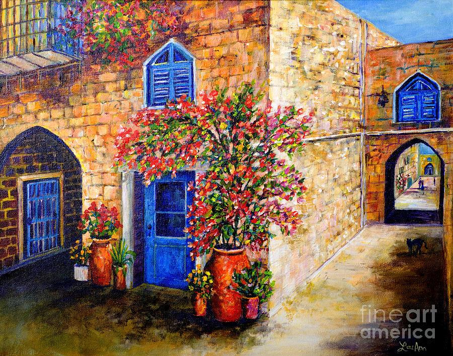 Greek Landscape Painting - Greek Bouganvillia by Lou Ann Bagnall