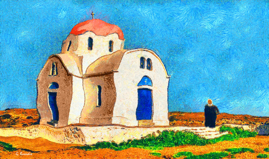 Rossidis Painting - Greek Church 4a by George Rossidis